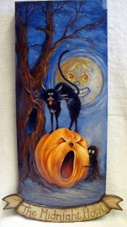 Art Halloween Black Cat Moon Pumpkin s Dominguez