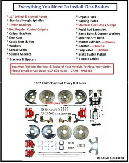 Wheel Power Disc Brake Conversion Kit w Brake Lines Red Chrome 62 67