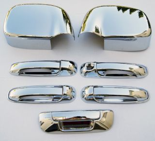02 08 Dodge RAM Chrome 5 Door Handle Mirror Covers 1K H