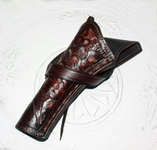 LEFT HAND CROSS DRAW HOLSTER GUN REVOLVER BROWN WESTERN COWBOY LEATHER