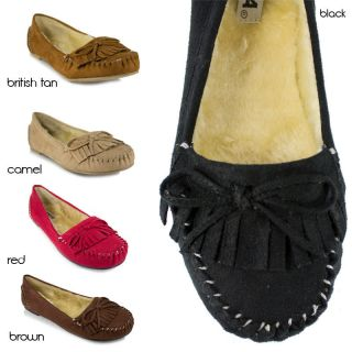 Insole Moccasin Slip on Flat Bow Faux Suede Soda Shoes Parry S