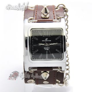 K0120 Steel Square Quartz Men Ladies Punk Rock Watch Cross Chain Brown
