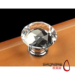 Clear Crystal Glass Drawer Cabinet Knob 30mm