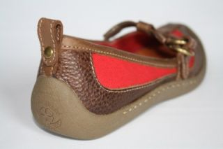 Womens Shoes Lucky Brand Win Mary Jane T Strap Flats Loafer Multi Red