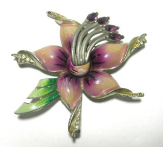 Huge Vintage Coro Signed Enamel Rhinestone Flower Brooch Pin 3 Pot