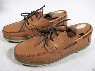 Allen Edmonds Mens Eastport Lace Up Boat Shoes Tan Leather 8 E Wide $
