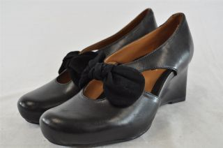 Earthies Bristol Black Soft Calf Leather Front Bow Accent Wedge Pumps