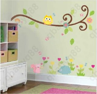 Owl Scroll Tree Branch Wall Decals Removable Stickers Decor Kids