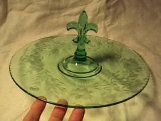 Antique Green Depression Glass Tray Fleur de Lis Handle
