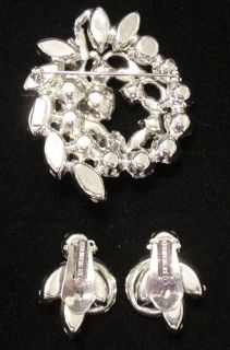 Eisenberg Ice Clear Rhinestone Large Brooch Earring Set