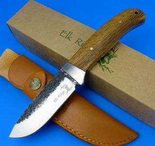 Elk Ridge Fixed Blade Hunting Knife Wood Handle Hammered 440 Carbon