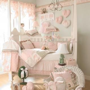 4pc Elegant Adorable Patchwork Pink Baby Girls Nursery Crib Bedding w