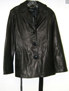 Ellen Tracy Womens Black Leather Jacket