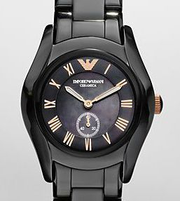 Emporio Armani Womens Black Ceramic Watch AR1412