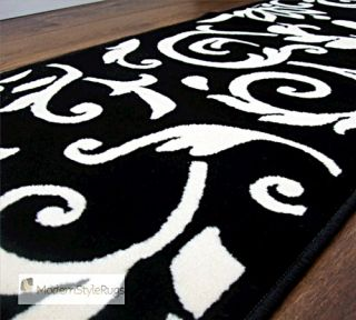 Retro Damask Black Ivory Cream Hall Runner Rug 60x230cm