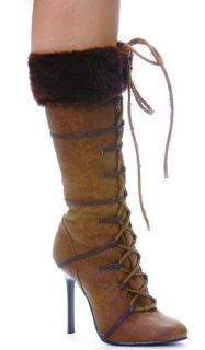 Ellie Shoes Sexy High Heel Brown Knee High Boot with Fur 4 Heel 433