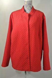 EILEEN FISHER Woman Quilted Silk Coat Jacket Magnetic Closures Red EUC