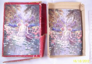 Vintage 30s Wooden Jigsaw Puzzle Ponda Boating Lake J Halford Ross