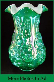 Fenton Reissue Poppy Show Carnival Glass Large Vase Green Emerald 1 Of
