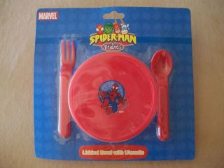Red Marvel Spider Man Friends Lidded Bowl With Utensils BRAND NEW IN