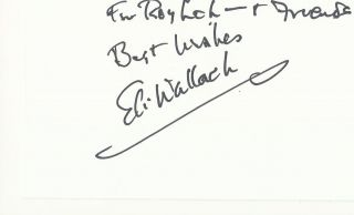 Eli Wallach Signed Autographed Auto 5 x 3 Index Card IDC Baby Doll