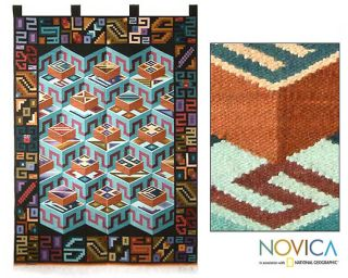 MC Escher Inspired Wool Tapestry Wall Hanging Peru Art
