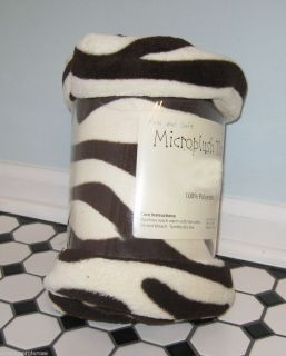 Ellery PLUSH COZY Throw Blanket 50X60 ZEBRA BROWN Animal Print SAFARI