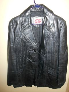 Mens Leather Jacket Size 40 Black Soft Nice Leather