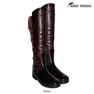 Brown Snow Winter Boots Faux Fur on Top Henry Ferrera 6 11