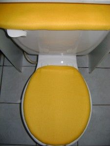 solid yellow fleece fabric toilet seat cover set