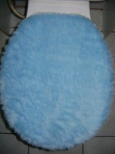 Light Blue Plush Very Soft Fabric Toilet Seat Cover Set