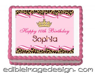 Pink Leopard Design Print Edible Birthday Cake Image Cupcake Topper