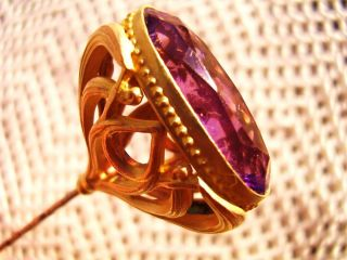Antique Hat Pin Lge Amethyst Stone Victorian Art Nouveau 9in Openwork