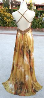 NWT FAVIANA COUTURE $440 Gold /Multi Prom Party Gown 4
