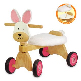 Kids Wooden Ride On Tricycle Rabbit Ride On Baby Activity Walking Toy