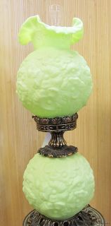 Vintage Fenton Green Satin Glass Poppy Lamp Extra Nice