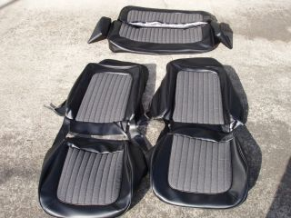 Early Ford Bronco Seat Covers Black Grey cloth inserts front and rear