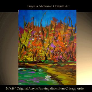 ORIGINAL FINE ART LANDSCAPE FOREST LAKE MODERN DECOR PAINTING