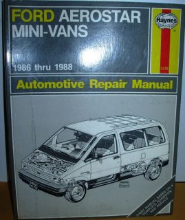 FORD AEROSTAR MINI VANS 1986 88 SHOP SERVICE AUTO REPAIR MANUAL BOOK