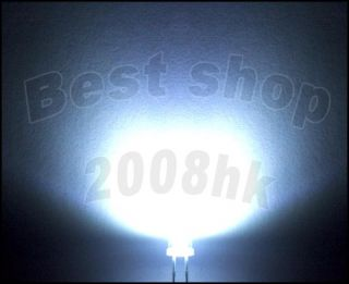 100 pcs 2pins 3mm Flat top Bright White LED lamp light 20000MCD