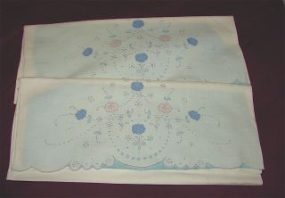 Vintage Pair Pillowcase Set Hand Embroidered Color Applique Madeira