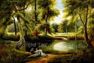 Romantic Forest Lake Original Canvas Art Oil Painting