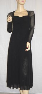 Gaultier Fuzzi Black Long Sleeve Mesh Dress Small