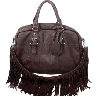 Western Fringe Shoulder Bag Cowgirl Handbag Biker Purse Dark Brown