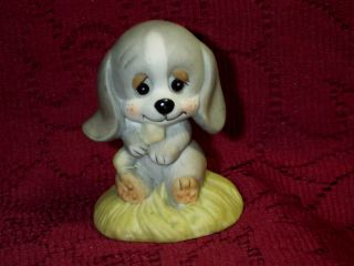 Gray Beagle Puppy Dog & Bone Frankel Cute Eyes Ceramic Figurine 3 1/8