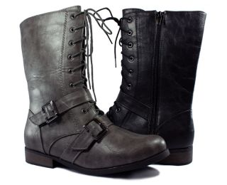 Military Combat Boot w Laces Buckles Full Side Zipper Grey or Black by