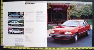 This is an original 1986 Ford Tempo showroom sales brochure. It is