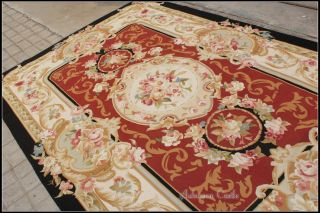 FREE SHIP 6X9 French Aubusson Area Rug BLACK CREAM RED w Pink Rose