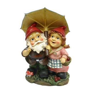 Cute Red Gnome Couple Under Umbrella Sculpture Garden Lawn Statue