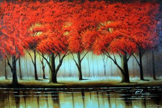 Oil Painting Abstract Red Tree Forest Lake Modern Art Wall Decor 24x36